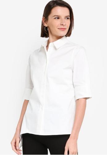 ck Calvin Klein white COTTON STRETCH TWILL SHIRT 586E9AAB052EA3GS_1