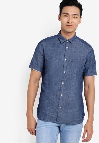 ESPRIT navy Short Sleeve Woven Shirt ES374AA69WYOMY_1