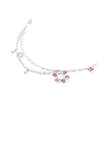 Glamorousky pink Flower Anklet with Pink Austrian Element Crystals 466F3ACF482BA9GS_1