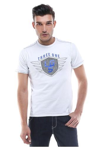 LGS - Slim Fit - Kaos Pria - Logo LGS - Putih