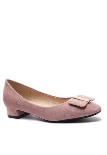 Twenty Eight Shoes 尖頭方扣絨面高踭鞋1205-44 C480DSH38CEF8AGS_1