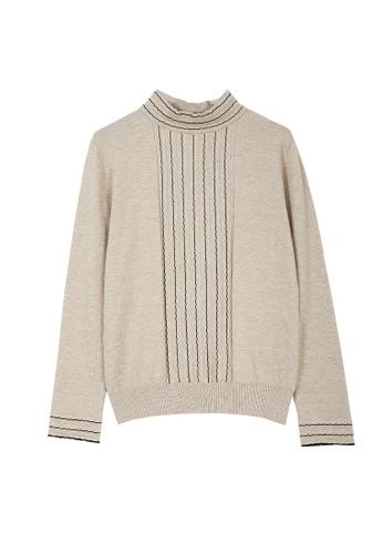 Its Me beige Simple Striped Half Turtleneck Sweater B7DD5AA8CBD188GS_1