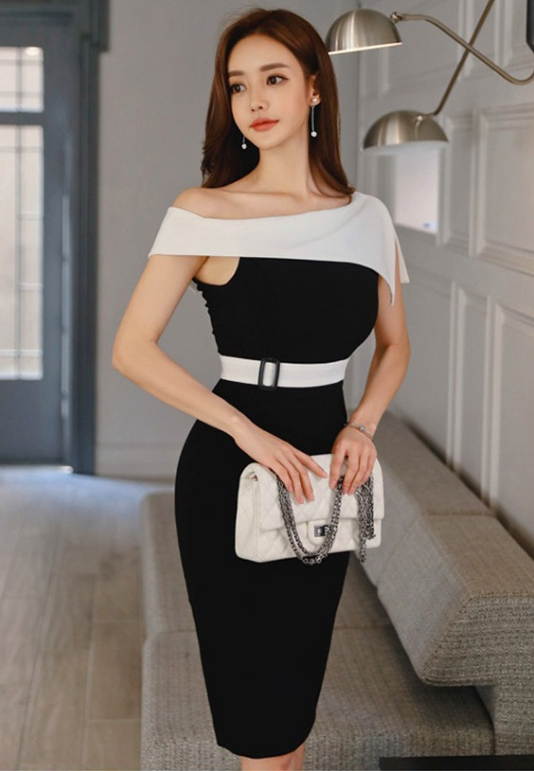 Shoulder Sheath 2018 A060424 Dress Off One Waist New Repair Sunnydaysweety Piece Black Style Wp465YZ4qU