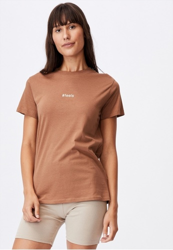 Cotton On brown Classic Slogan T Shirt E9D6DAA42C1298GS_1