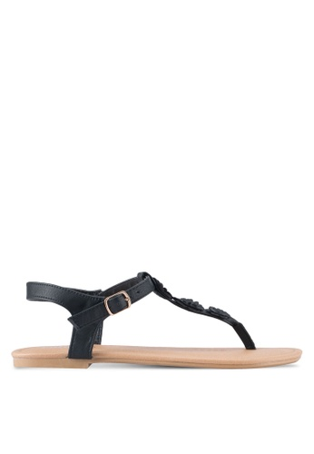 Rubi black Everyday Floral Toe Post Sandals RU506SH0T09UMY_1