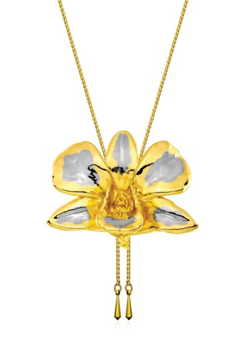 RISIS multi RISIS 24K Gold and Rhodium Plated Natural Dendrobium Tay Swee Keng Orchid Slider 25AF3ACCD92FEDGS_1