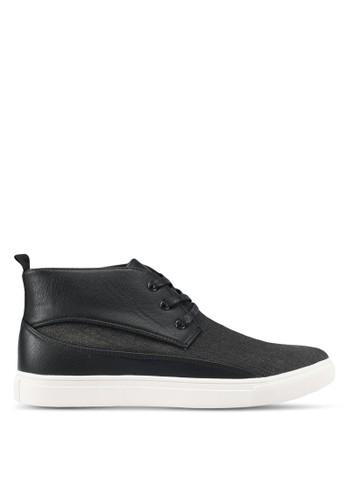JAXON black Mixed Materials Linen High Top Sneakers 10E31SH43BAF2DGS_1
