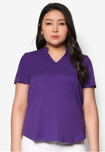Ex'otico purple Short Sleeve Basic Top EX373AA20GVJMY_1