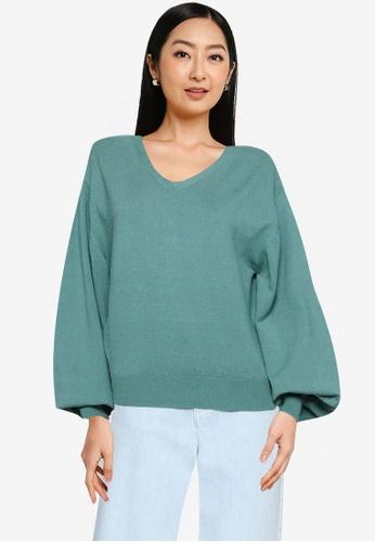 Heather green Oversized Knit Sweater 271A6AA598F44DGS_1