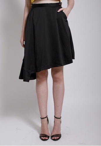 QLOTHE black Down-to-Earth: Frill Flare Skirt 52C85AA52E7872GS_1