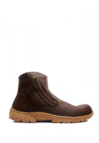 Cut Engineer brown Cut Engineer Slip On Zipper Safety Boots New Tactikal Dark Brown A1D3BSH007F148GS_1