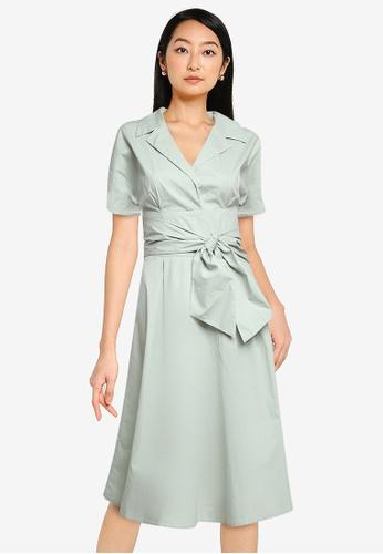 ZALORA BASICS green Belt Detail Shirt Dress 1FF94AA735F450GS_1
