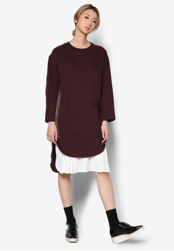 STUDY 褶飾裙擺層次連身裙, 服esprit鞋子飾, 洋裝