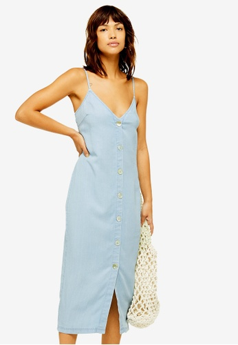 aa42c7475a4 Buy TOPSHOP Shell Button Denim Slip Midi Dress Online on ZALORA Singapore