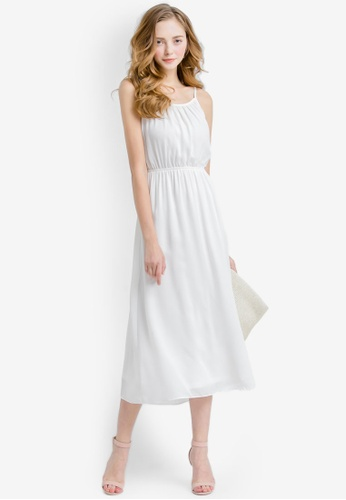 YOCO white Laced Midi Dress With Back Cut-Out YO696AA0S1D6MY_1