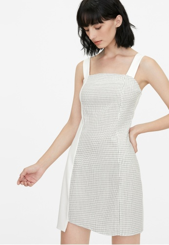 Pomelo white Mixed Grid Print Dress - White 1039FAA60DF0D1GS_1