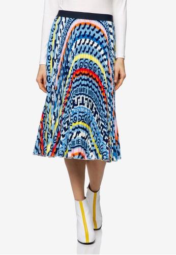 United Colors of Benetton 多色 印花設計百褶裙 E5448AAC0FA2E4GS_1