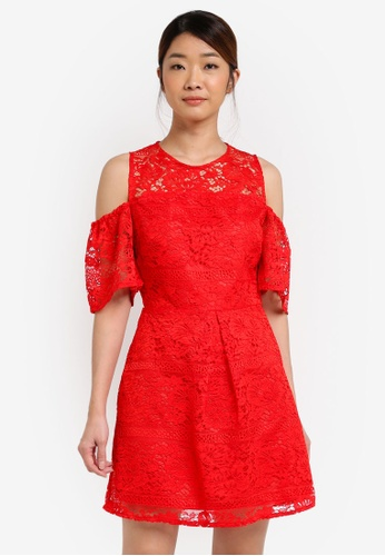 Miss Selfridge red Cny: Cold Shoulder Lace Dress MI665AA0T08VMY_1