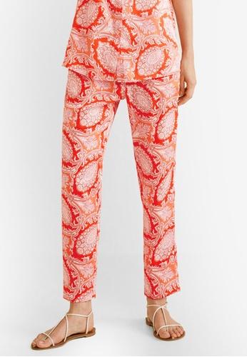 Mango orange Paisley Print Trousers FEB84AA1AD82E7GS_1