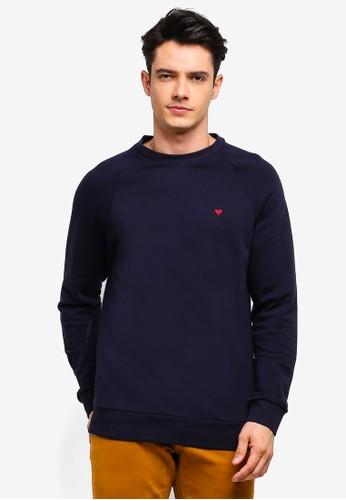 MANGO Man blue Embroidered Cotton Sweatshirt A7DB2AAD8709B6GS_1