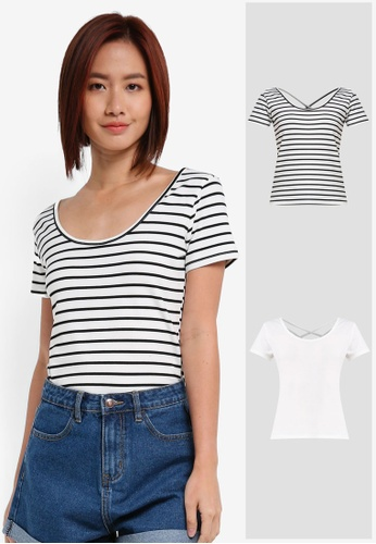 ZALORA white and multi 2 Pack Scoop Neck Tee With Back Straps ZA919AA0IMK4SG_1