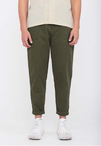 A for Arcade green Wide-Leg Work Trousers in Olive 11160AA3465EBBGS_1