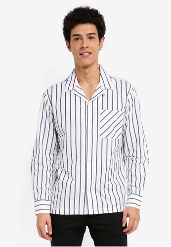 MANGO Man 白色 長袖條紋襯衫 3D4AAAAE866E54GS_1