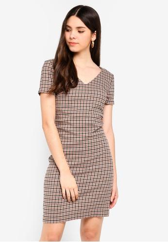 ICHI brown Checkered Dress 9BBE4AA996E212GS_1