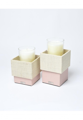 Grassroots pink Square Candle Holder (Tall) 5455AHLA71F278GS_1