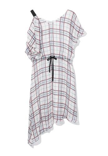 b+ab white Asymmetrical plaid dress 26699AA053C968GS_1