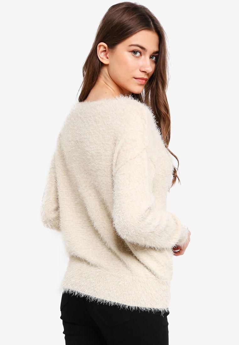 Cream Slouchy Sweater Something Furry Borrowed TqIpPp