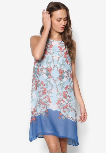 花卉寬擺無袖洋裝zalora時尚購物網評價, 服飾, 洋裝