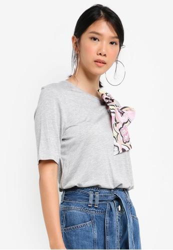 River Island grey Scarf Print Bow Detail T-Shirt 081B0AA4AE7678GS_1