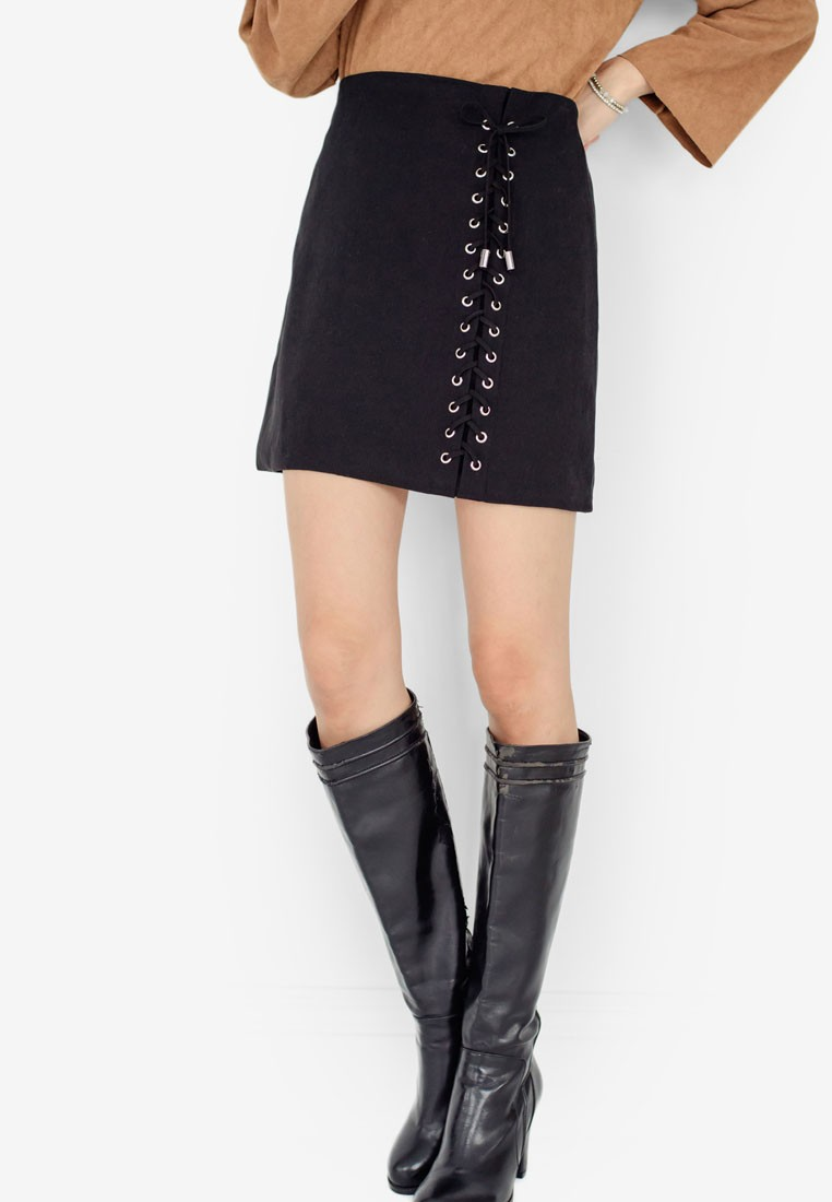 Side Laced Suede Skirt