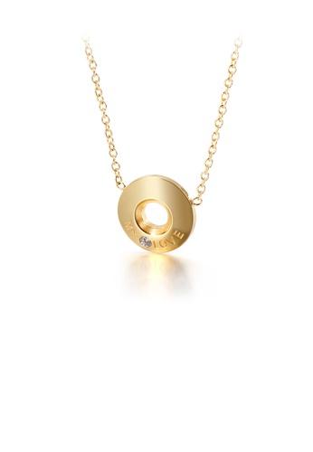 Glamorousky 白色 時尚簡約鍍金色幾何圓形love 316L鋼吊墜配鋯石及項鏈 29B5DACF818249GS_1