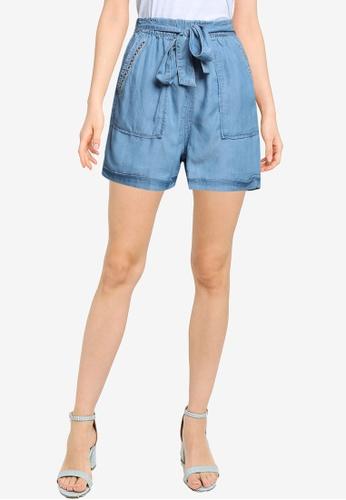 Springfield 藍色 天絲棉短褲 With Embroidery DA5EBAAF49CD6FGS_1