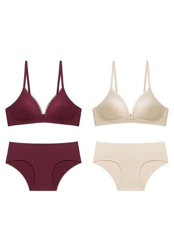 K.Excellence beige Premium Comforn Red&beige Lingerie Set (Bra and Underwear) 56EBAUS7ECD18CGS_1