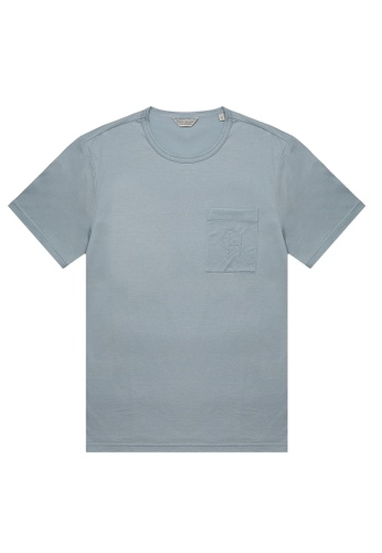 Gieves & Hawkes blue JERSEY T-SHIRT WITH MONOGRAMMED BREAST POCKET 1AFD6AAB3BE255GS_1