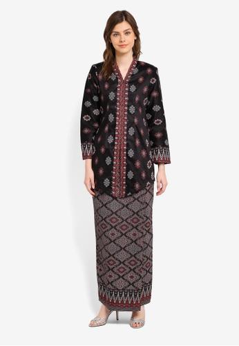 Butik Sireh Pinang black Mahsuri Satin Cotton Kebaya with Songket Print BU003AA0SPWQMY_1