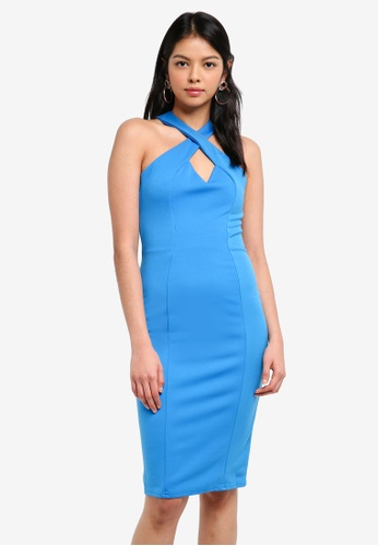 Goddiva blue Criss-Cross Neckline Midi Dress F01DEAACA78DE1GS_1