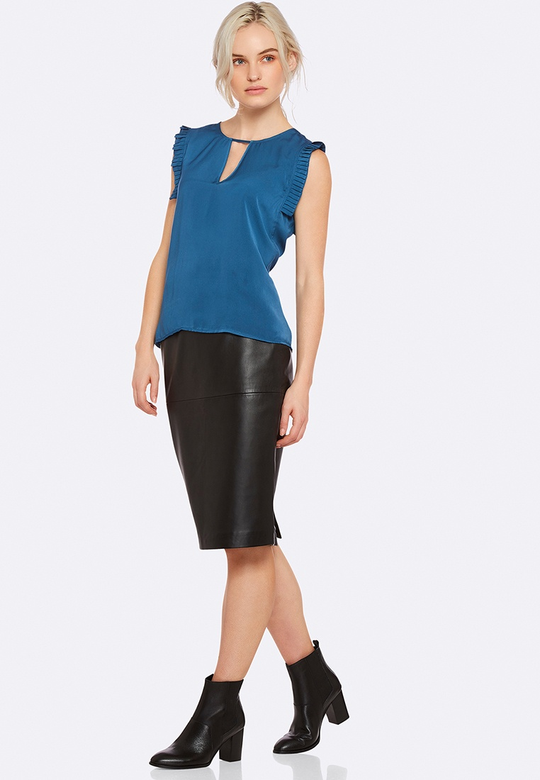 Oxford Pip Pip Pleated Pleated Top Oxford Blue Top OzqEC5wC