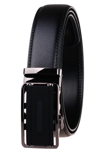 FANYU black Leather Dress Belt With Automatic Buckle belt 90911ACA7DDCF2GS_1