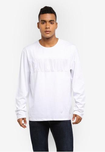 Calvin Klein white Toles Long Sleeve Crew Neck Tee - Calvin Klein Jeans A65F8AA2697FD0GS_1