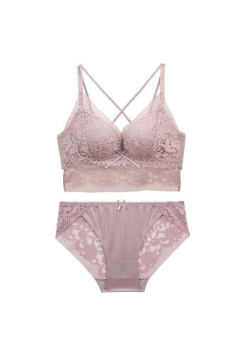 Midnight 粉紅色 Premium Lace Pink Lingerie Set (Bra and Underwear) 8CBFEUS851ACD4GS_1