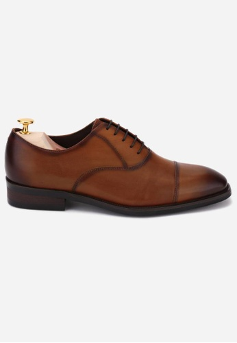 Earnest & Collective brown Carnegie II Burnished Rust Minimalist Oxfords 3B6E8SHE56C0CDGS_1