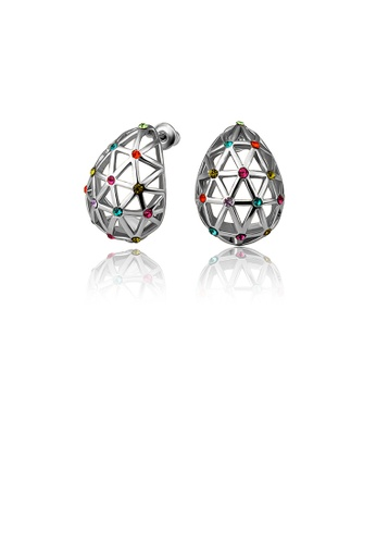 Glamorousky silver Simple Geometric Earrings with Colored Austrian Element Crystals 46C1AACC3E277AGS_1