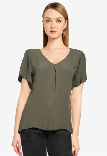 JACQUELINE DE YONG green Lea Short Sleeve Top 9EC74AAAC1BFE1GS_1