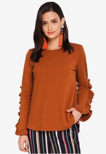 Lubna brown Rib Knit Ruffles Sleeves Top 81A5DAA2A210A7GS_1