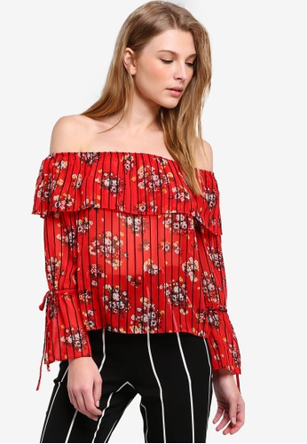 e55fabaec3613 Buy Miss Selfridge Red Tie Sleeve Bardot Top Online on ZALORA Singapore