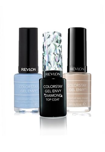 Revlon blue and beige REVLON COLORSTAY GEL ENVY™ LONGWEAR NAIL ENAMEL SET - Gel Diamond Top Coat™ + LOVESTRUCK + CHECKMATE RE737BE23CXOSG_1